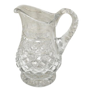 1920s Vintage Anglo-Irish Glass Pitcher For Sale