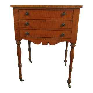 19th C Sheraton Tiger Maple 3 Drawer Stand For Sale
