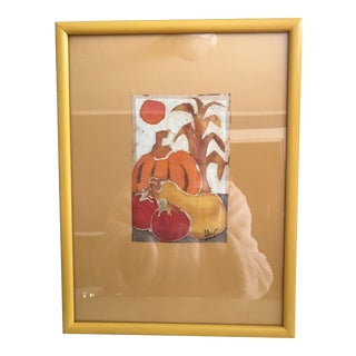 Vintage Fall Watercolor Still Life Painting For Sale