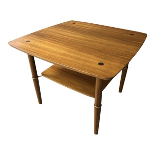Kresten Buch Mid-Century Modern Danish Teak and Brass Square Side Table / Coffee Table
