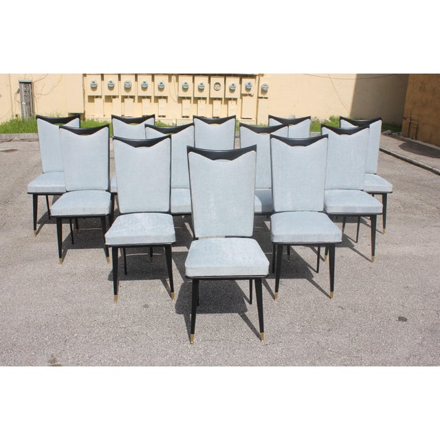 Monumental Set of 12 French Art Deco Dining Chairs, Circa 1940s For Sale - Image 4 of 13