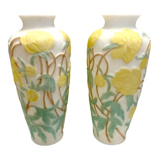 Stunning Arts and Crafts Style White Frosted Glass Vases With Yellow Flowers For Sale