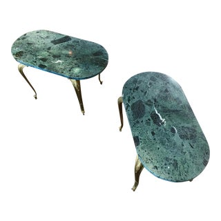 1930s Vintage French Louis XV Bronze Lion Head & Green Marble Side Tables - a Pair For Sale