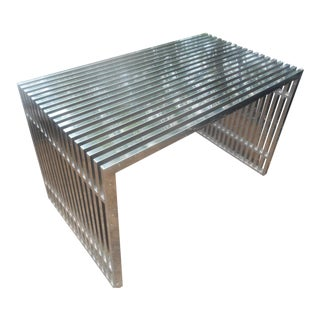 1970s Mid-Century Modern Custom Chrome and Glass Console Entry Table.