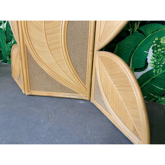Wood Tropical Rattan Room Divider Folding Screen For Sale - Image 7 of 12