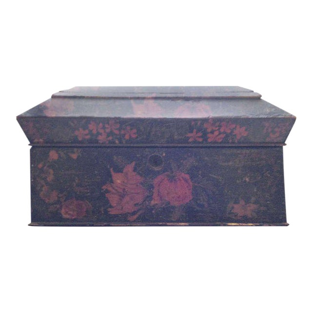 Painted English Victorian Tea Caddy with Original Fittings and Lined in Velvet For Sale