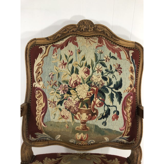 French Louis XV Style Arm Chair With Aubusson Tapestry For Sale - Image 3 of 7
