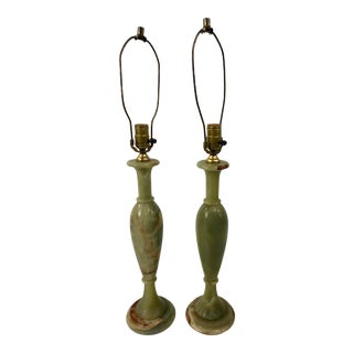 Mid-Century Green Alabaster Table Lamps - a Pair For Sale