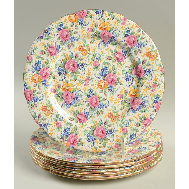 Ceramic James Kent Rosalynde Chintz Luncheon Plate Set/6 For Sale - Image 7 of 7