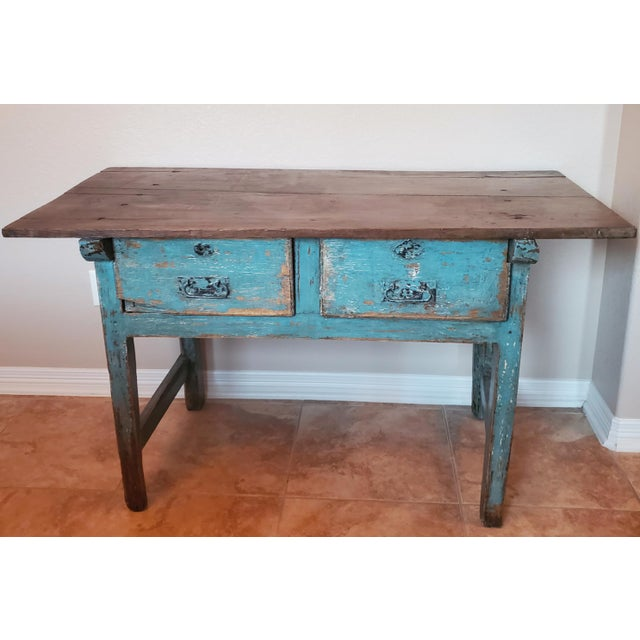 Patina perfection!! A rustic 19th century handcrafted Spanish work table, in a distressed, weathered painted finish....