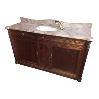 1920's Marble Sink on Mahogany Cabinet With Brass Pulls For Sale