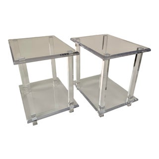 Acrylic Side Tables - A Pair For Sale