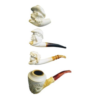 4 Vintage Collectable Meerschaum Cevher, Sherlock Holmes, Lady Bacchus Smoking Tobacco Pipes For Sale