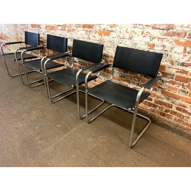 Mid-Century Modern Mid-Century Modern Mart Stam Chrome & Black Cantilever Chairs With Dining Table Set - 5 Pieces For Sale - Image 3 of 9