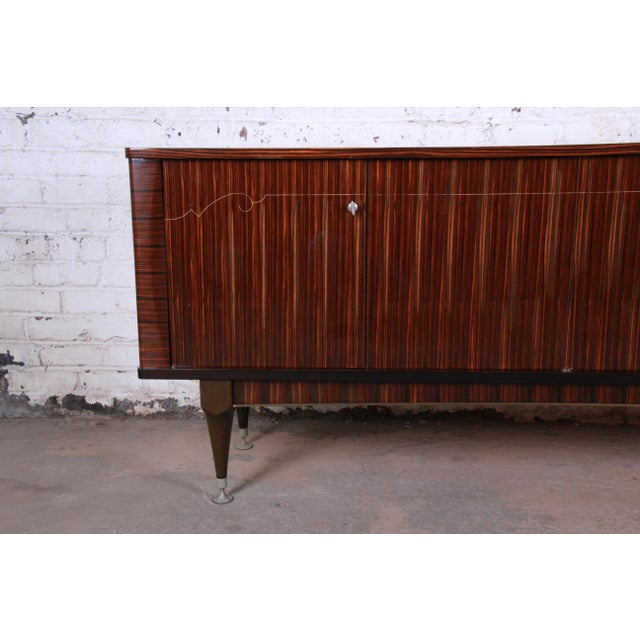 French Art Deco Macassar Ebony Credenza or Bar Cabinet by N.F. Ameublement, 1966 For Sale - Image 4 of 13