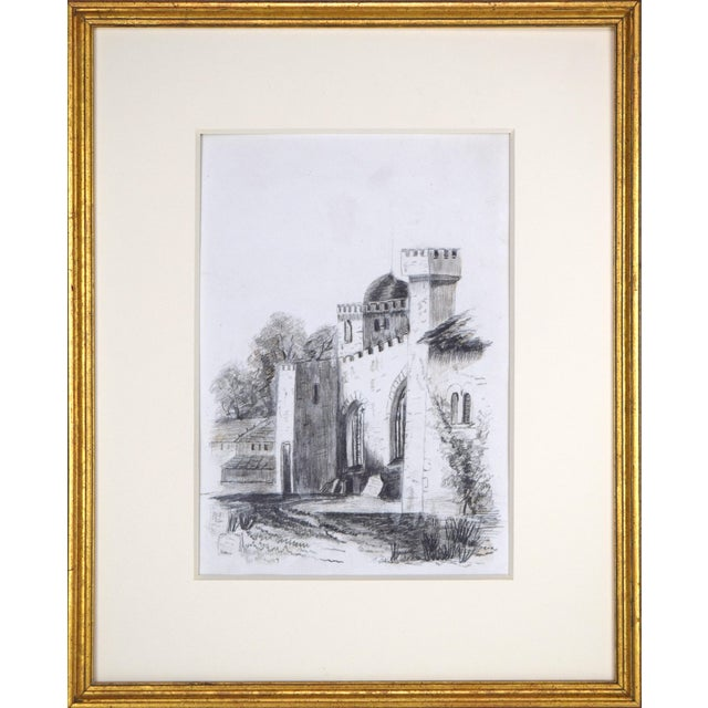 19th Century Antique English Graphite Castle Drawing For Sale