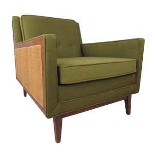 Mid-Century Modern Upholstery and Cane Armchair For Sale