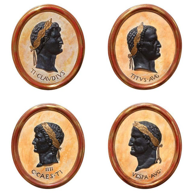 Wood Classical Plaques of Roman Emperors - Set of 4 For Sale - Image 7 of 7