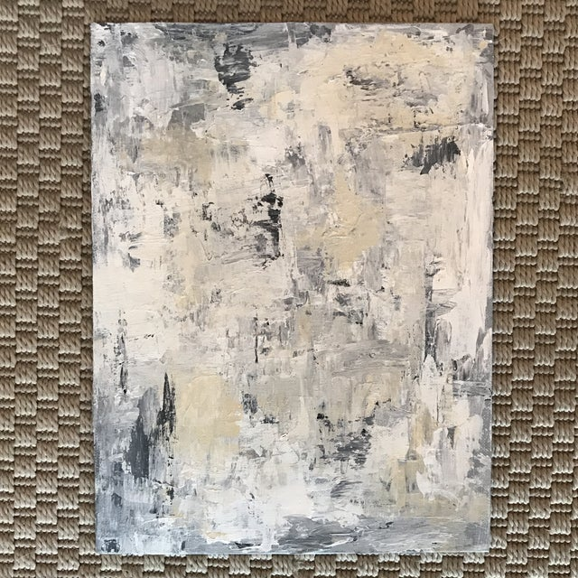 Abstract Neutral Grey White Blue Original Abstract Painting For Sale - Image 3 of 5