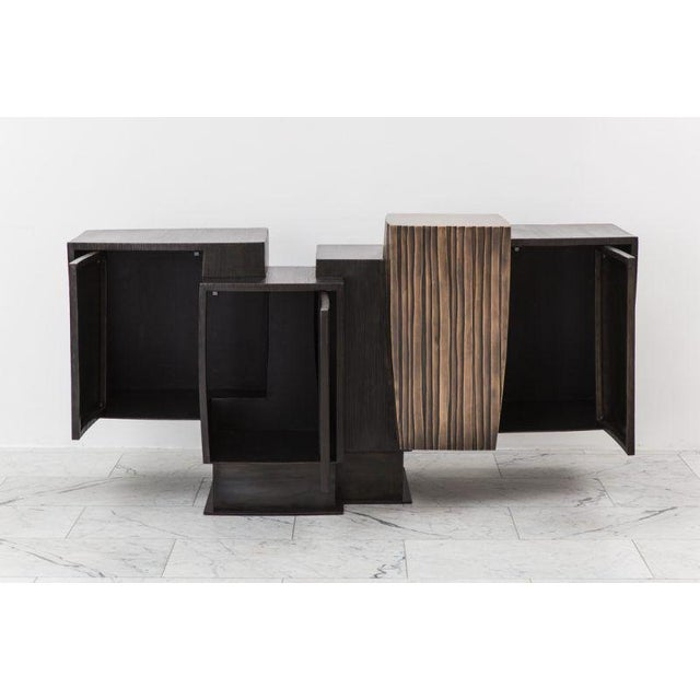 Contemporary Gary Magakis, Blackened Steel and Layered Bronze Compact Console, USA, 2017 For Sale - Image 3 of 9