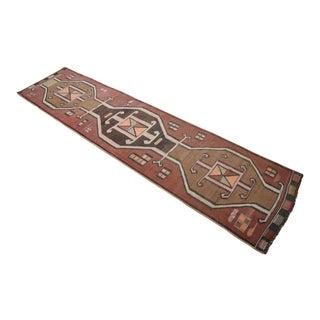 Vintage Turkish Handmade Kilim Runner Rug Full Tribal Design Hallway Decor - 3′ × 12′6″ For Sale