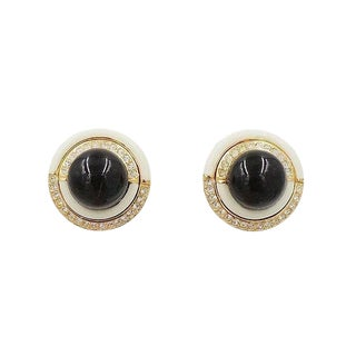 1980s Ciner Faux-Onyx Cabochon Rhinestone & White Enamel Earrings For Sale