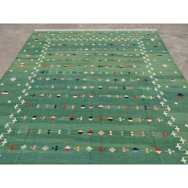 Green Handmade Cotton Vegetable Dyed Green Shooting Star Rug For Sale - Image 8 of 11
