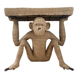 Vintage Mario Lopez Torres Rattan Monkey Console Table For Sale