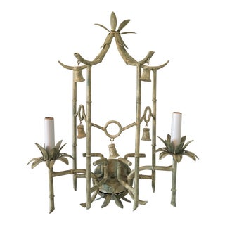Vintage Tole Faux Bamboo Pagoda Sconce W/ Bells For Sale
