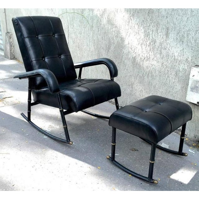 Black Jacques Adnet Rare Rocking Chair and Footstool in Black Hand-Stitched Leather For Sale - Image 8 of 9