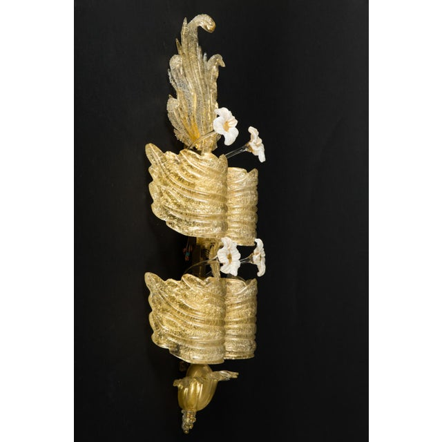 Barovier e Toso Tiered Pale Gold Murano Sconces By Barovier & Toso, circa 1930s For Sale - Image 4 of 7