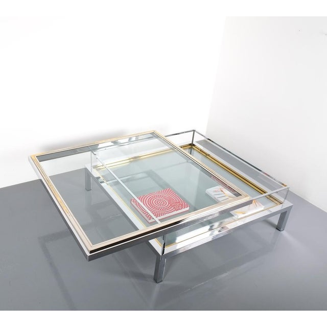 Refurbished Large Maison Jansen Brass and Chrome Vitrine Coffee Table, 1970 For Sale - Image 6 of 12