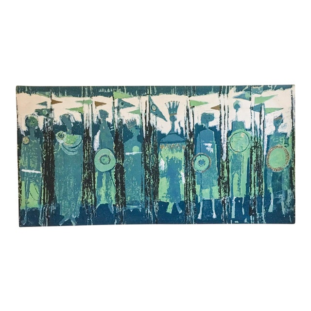 The Age of Kings in Blue Textile Art by Tibor Reich For Sale