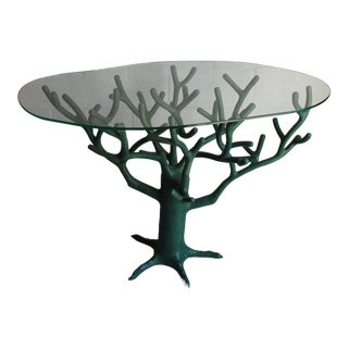 20th Century French Green Resin Tree Sculpture Table For Sale