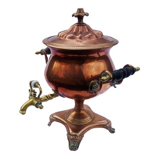 19th C English Copper & Brass Hot Water Urn Samovar For Sale