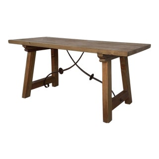 20th Spaninh Solid Dining Room Table With Iron Stretcher For Sale