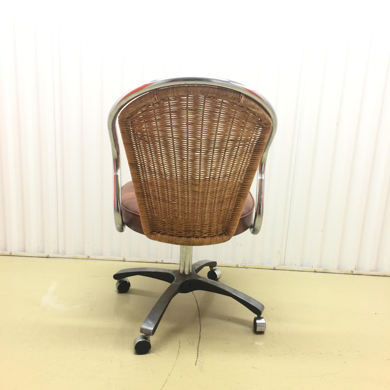 Perfect Vintage Daystrom Chrome U0026 Rattan Desk Chair   Image 5 ...