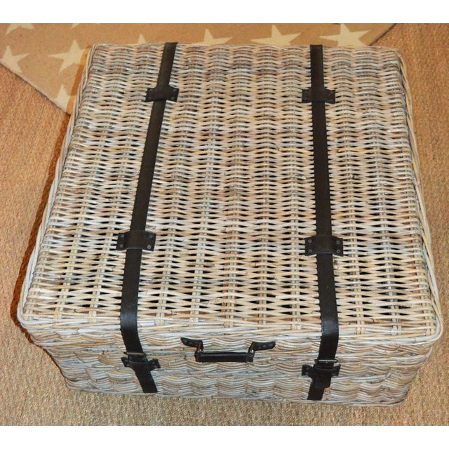 Animal Skin Boho Chic Woven Rattan Coffee Table Trunk For Sale - Image 7 of 13