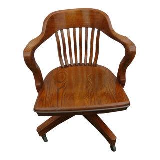 Late 20th Century Jasper Cabinet Company Oak Swivel Office Desk Side Chair For Sale