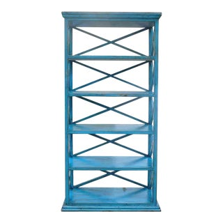 Rustic Blue Color Solid Wood Display Cabinet Book Shelf JZ416C