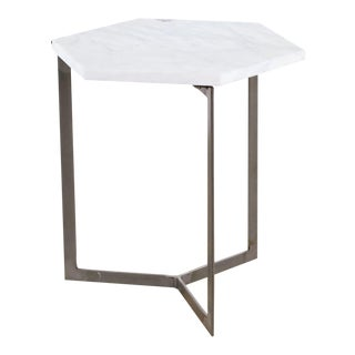 West Elm Hex Side Table, White Marble/Raw Steel For Sale