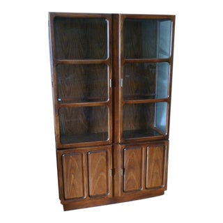 Storage Cabinet Dining Room Buffet of Oak. Glass Doors and Side Panels With Inside Light For Sale