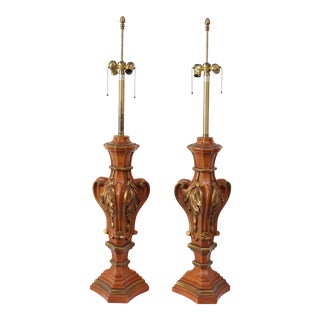 Pair of Oversized Hollywood Regency Carved and Gilded Table Lamps by Marbro For Sale
