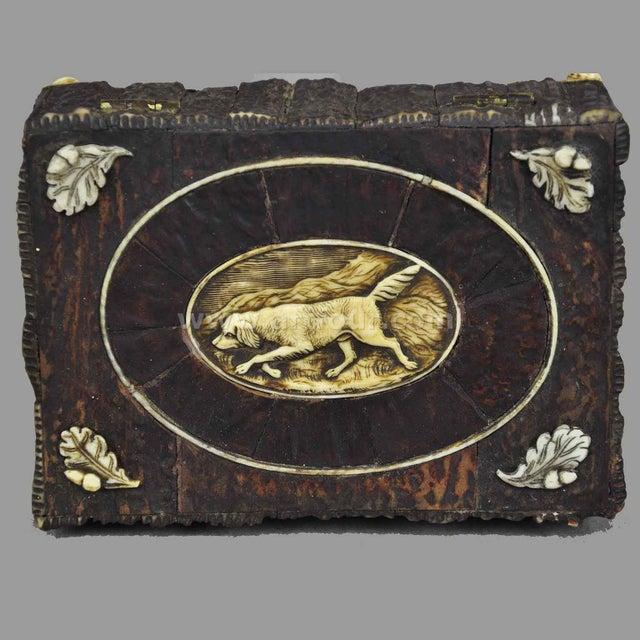 Black Forest Great Miniature Antler Casket 1860 For Sale - Image 3 of 7