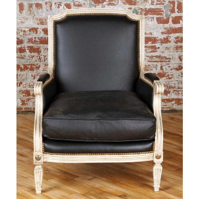 French Pair Painted and Parcel Gilt Maison Jansen Black Leather Arm or Bergere Chairs For Sale - Image 3 of 13