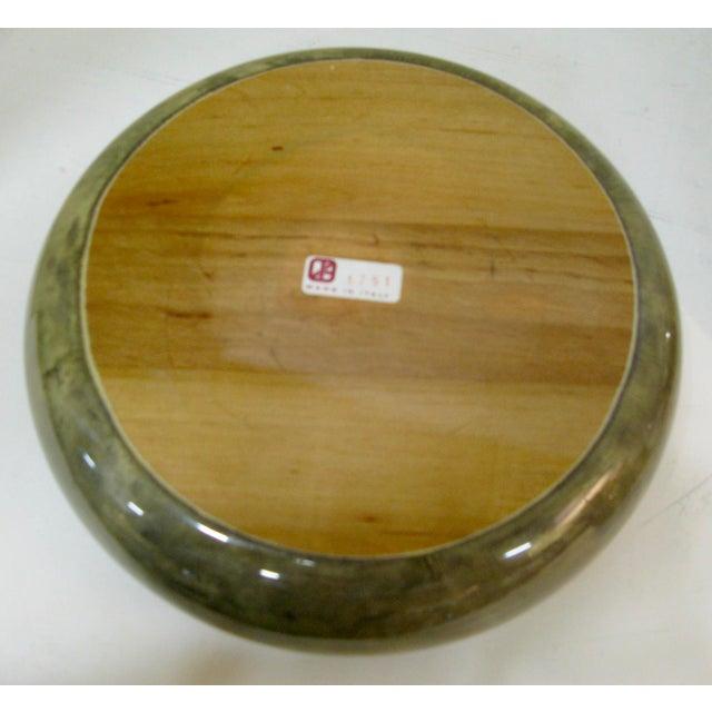 Animal Skin Rare Set of Aldo Tura Jade Green Goat Skin & Brass Bowl & Matching Lighter c.1950 For Sale - Image 7 of 13