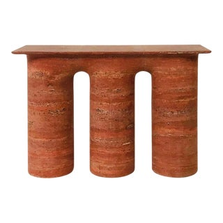 1970s Italian Red Travertine Console For Sale