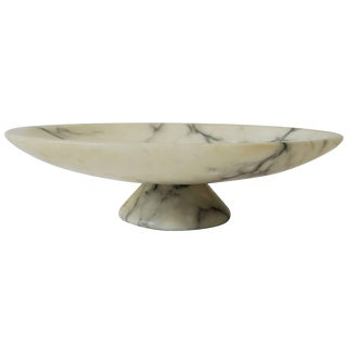 Italian White and Black Marble Compote or Centerpiece Bowl For Sale