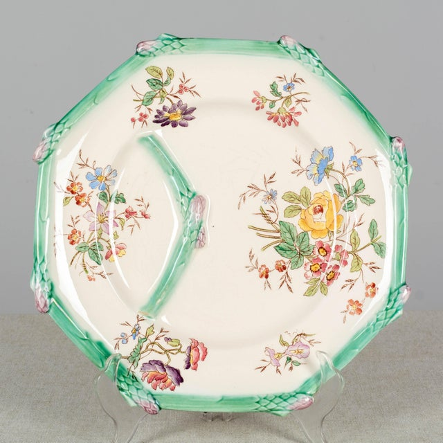 Ceramic Longchamp French Majolica Asparagus Plates and Serving Set For Sale - Image 7 of 13
