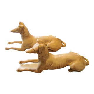 Large Antique 1920s Cast Iron Whippet Dogs Garden Statues - a Pair For Sale